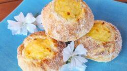 Glutenfria Solskensbullar fyllda med vaniljkräm