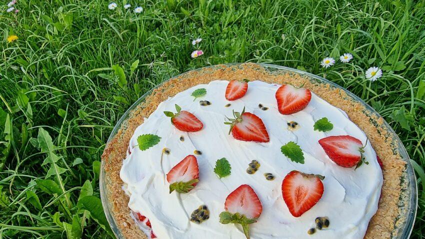 Glutenfri sommarpaj med passionsfrukt