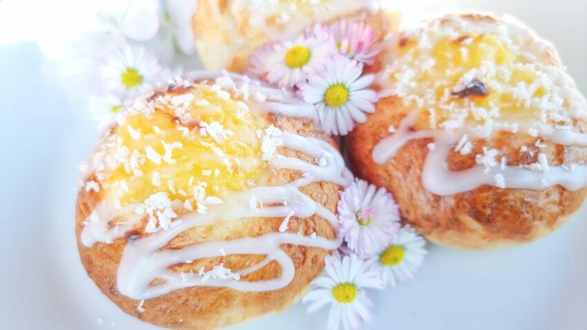 glutenfria citronsolskensbullar med citronkräm